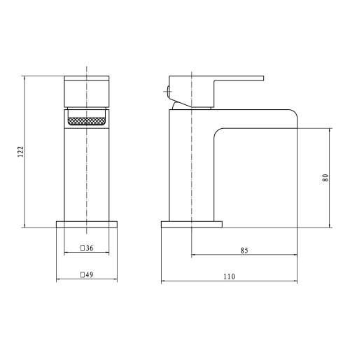 Aquabro DUNK Mini Monobloc Basin Mixer Tap Dimensions
