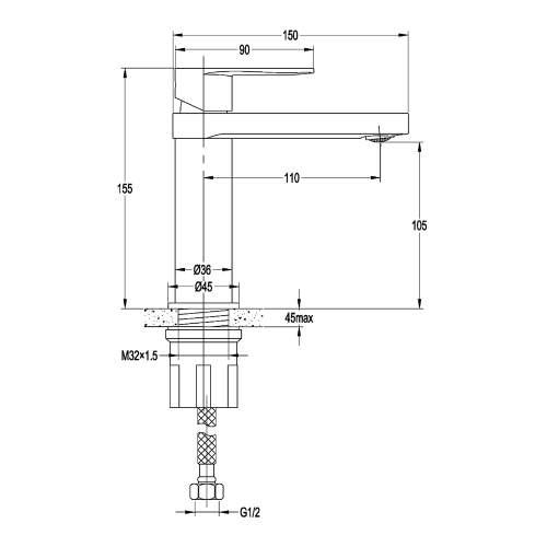 Aquabro WIND Monobloc Basin Mixer Dimensions