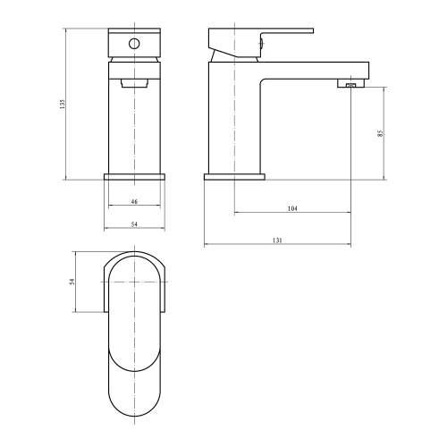 Aquabro GENTO Monobloc Basin Mixer Dimensions