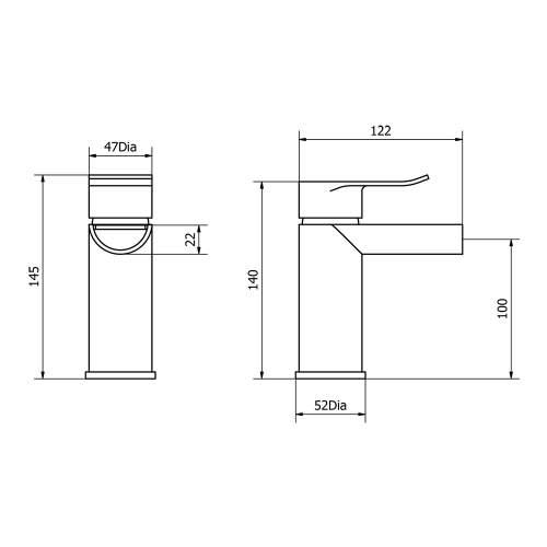 Aquabro LOU Monobloc Bathroom Basin Mixer Dimensions