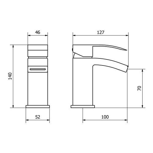 Aquabro PEAK Small Monobloc Bathroom Basin Mixer Tap Dimensions