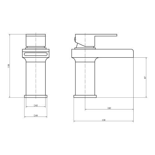 Aquabro SPENDO Monobloc Basin Mixer  Tap Dimensions