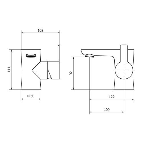 Aquabro PEDRAS Monobloc Basin Mixer Tap Dimensions