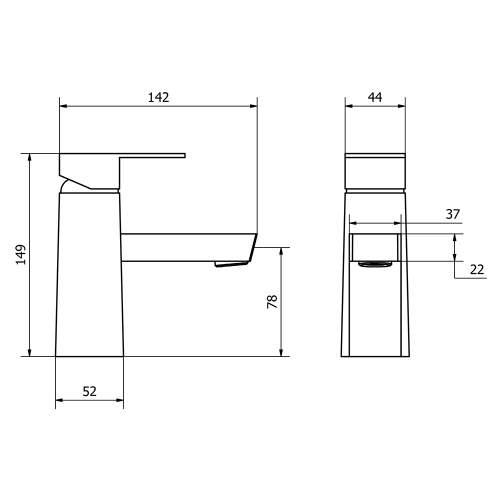 Aquabro CARNO Monobloc Basin Mixer Tap Dimensions