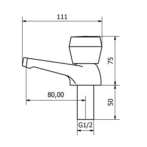 Aquabro Rio Basin Taps (Pair) Dimensions
