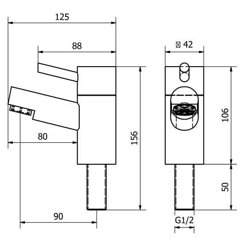Aquabro DALTON Bathroom Basin Taps Dimensions
