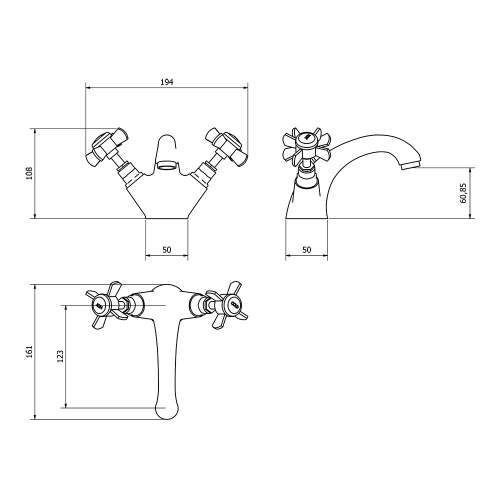 Aquabro TIME Monobloc Basin Tap Dimensions