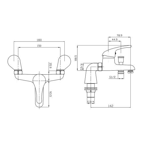Aquabro RIO Bath Shower Mixer Tap Dimensions