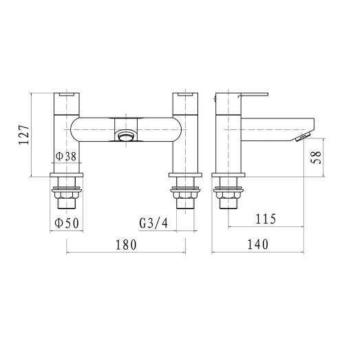 Aquabro Roma Bath Filler Dimensions