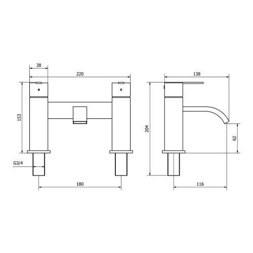 Aquabro EPIC Two Handle Bath Filler Dimensions