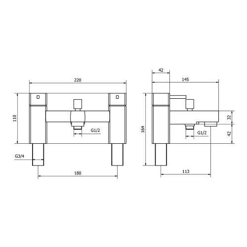 Aquabro NERO Bath Shower Mixer Tap Dimensions