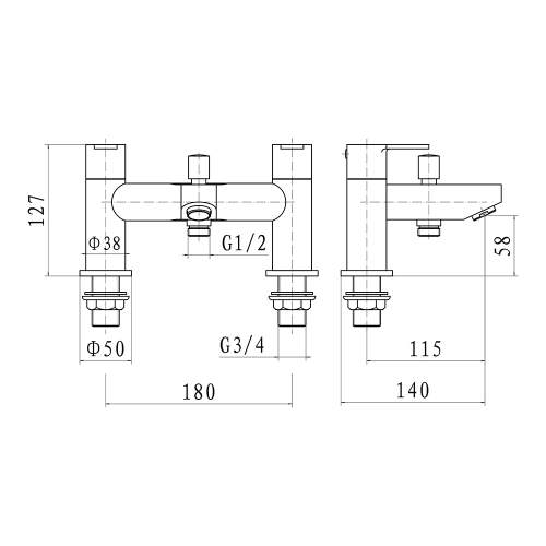 Aquabro Roma Bath Shower Mixer Dimensions