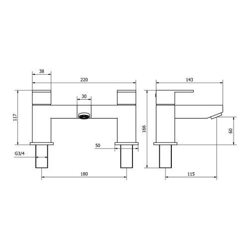 Aquabro FORM Bath Filler Tap Dimensions