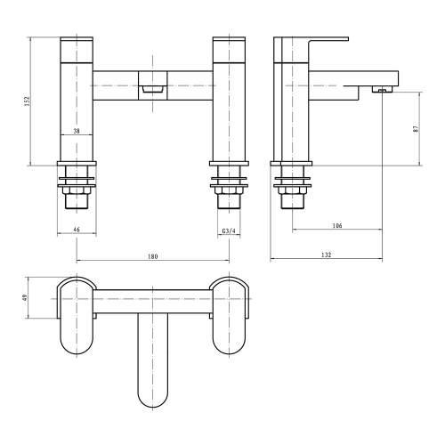 Aquabro GENTO Bath Filler Tap Dimensions