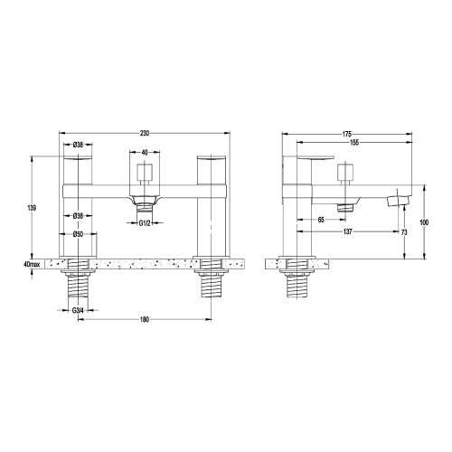 Aquabro WIND Bath Shower Mixer Dimensions