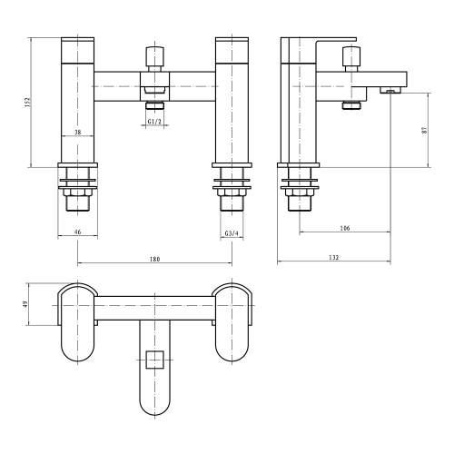 Aquabro  GENTO Bath Shower Mixer Tap Dimensions
