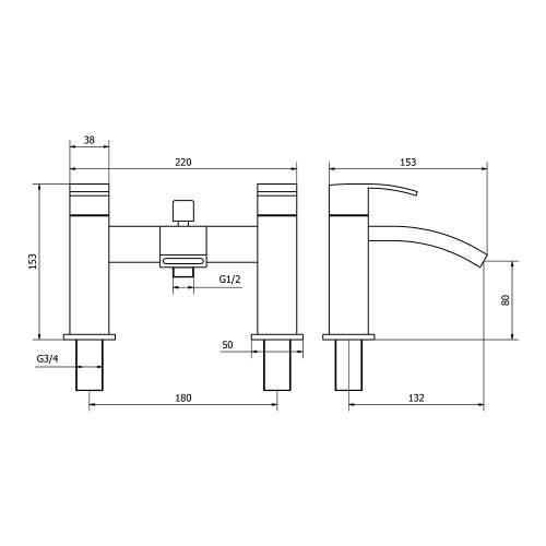 Aquabro PEAK Bath Shower Mixer Tap Dimensions