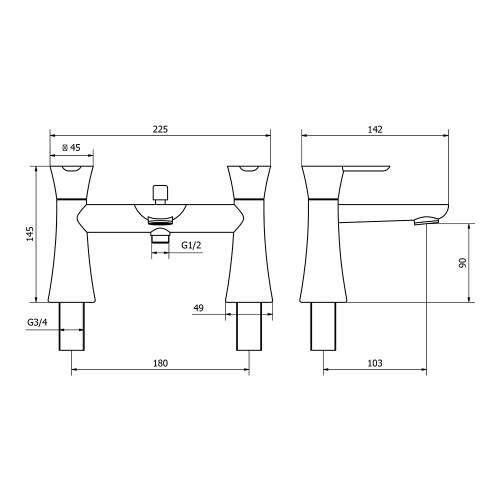 Aquabro PEDRAS Bath Shower Mixer Tap Dimensions