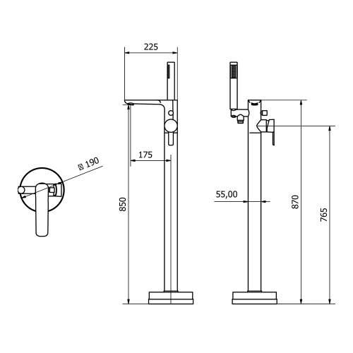 Aquabro PEDRAS Free Standing Bath Mixer Tap Dimensions