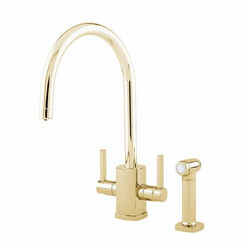 Perrin and Rowe 4308 RUBIQ 'C' Spout Kitchen Tap with Rinse in Gold