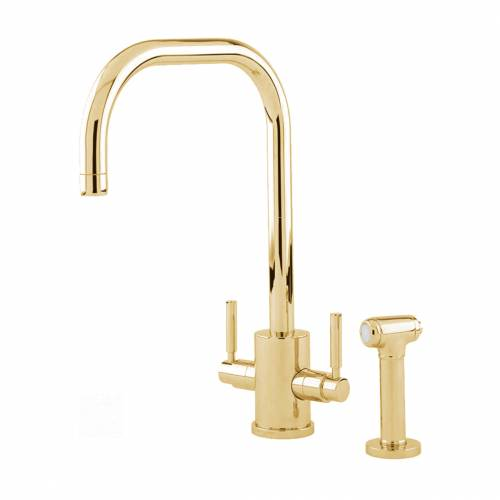Perrin and Rowe ORBIQ 'U' Spout Kitchen Tap with Rinse in Gold