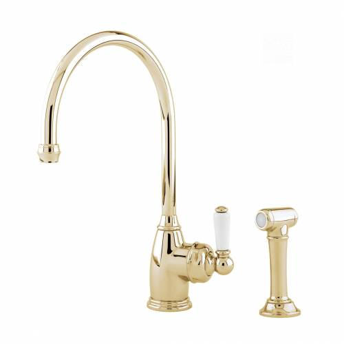 Perrin and Rowe 4346 Parthian Kitchen Tap with Rinse in Gold