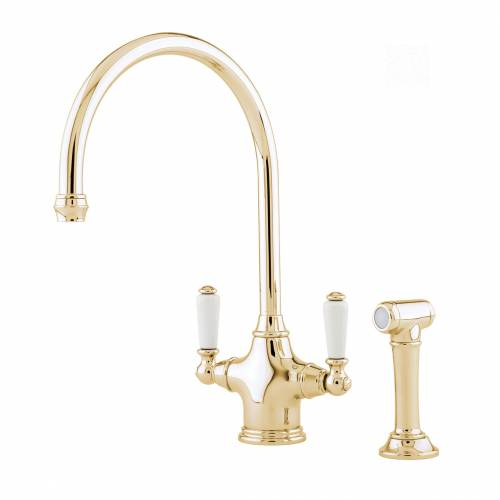 Perrin and Rowe 4360 Phoenician Kitchen Tap with Rinse in Gold