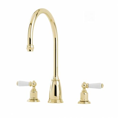 4371 ATHENIAN Three Hole Mixer Tap with Lever Handles in Gold