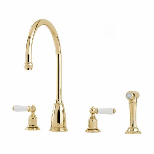 Perrin and Rowe 4376 Athenian Kitchen Tap with Rinse in Gold