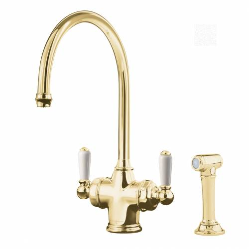 1537 PARTHIAN Dual Lever Filtration Mixer Tap and Rinse in Gold