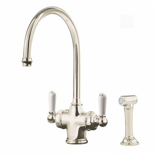 1537 PARTHIAN Dual Lever Filtration Mixer Tap and Rinse in Nickel