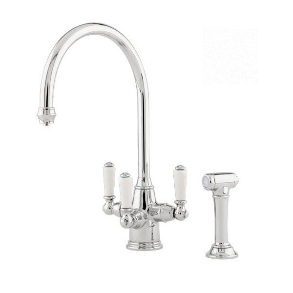 PHOENICIAN Mixer Tap w Lever Handles & Rinse - Sinks-Taps.com