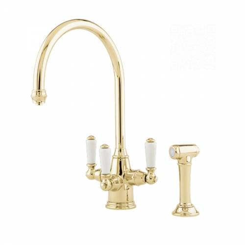 1560 PHOENICIAN Filtration Mixer Tap with Lever Handles and Rinse in Gold