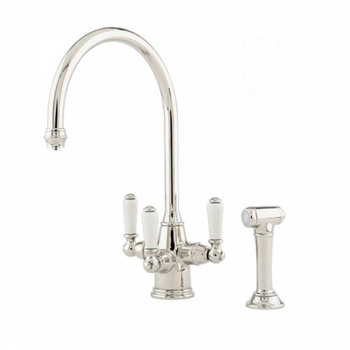 1560 PHOENICIAN Filtration Mixer Tap with Lever Handles and Rinse in Nickel