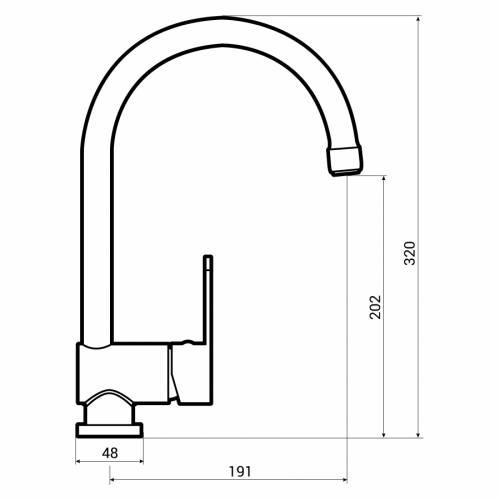 Abode Czar Single Lever Kitchen Tap Dimensions
