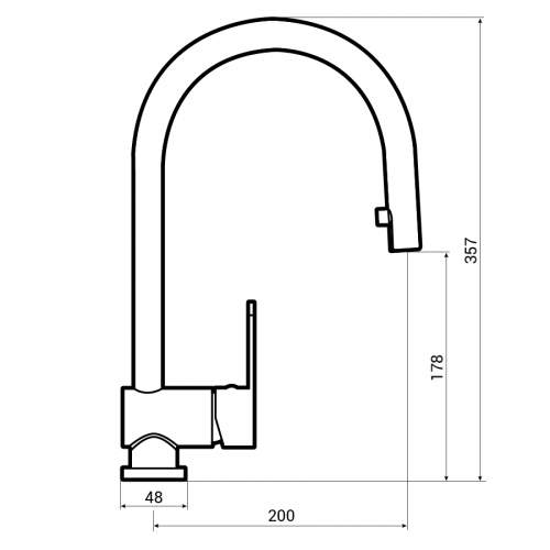 Abode Czar Single Lever Pull Out Kitchen Tap Dimensions