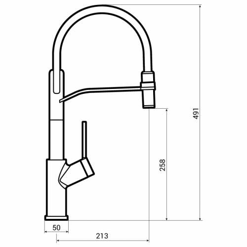 Abode VIRTUE Semi Professional Flexible Spout Kitchen Tap Dimensions