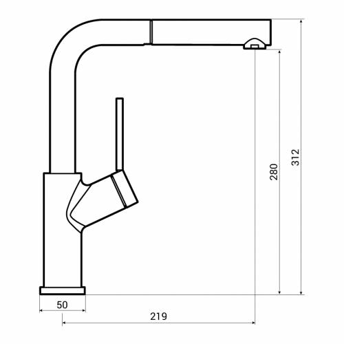 Abode VIRTUE Angle Pull Out Spray Kitchen Tap Dimensions