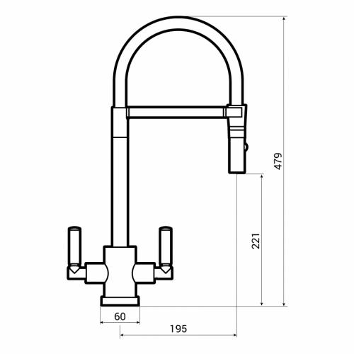 Abode ATLAS Professional Monobloc Spray Kitchen Tap Dimensions