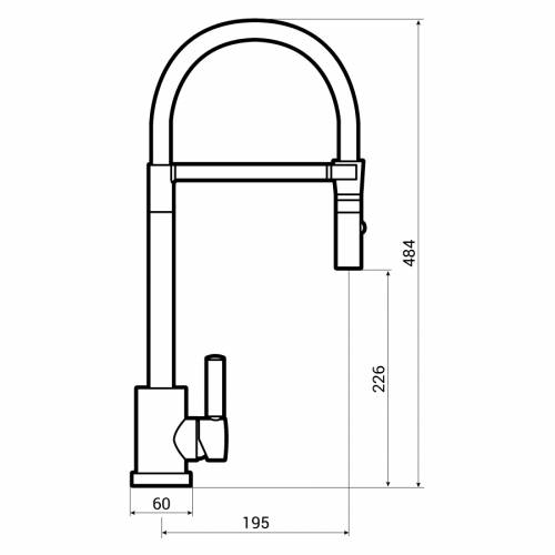 Abode ATLAS Professional Single Lever Spray Kitchen Tap Dimensions