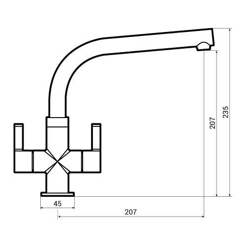 Abode Esteem Monobloc Kitchen Tap Dimensions