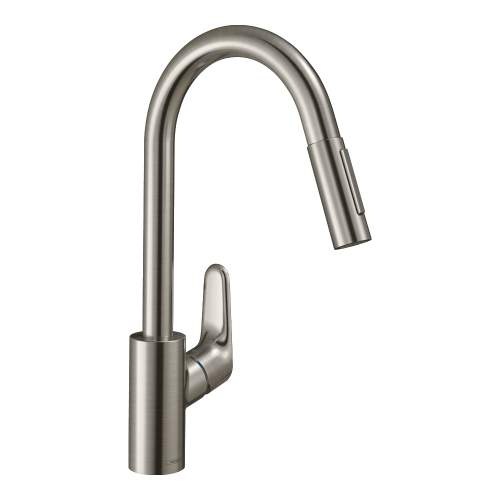 Hansgrohe FOCUS 240 Kitchen Mixer Tap with Pull-Out Spray in Stainless Steel Optic