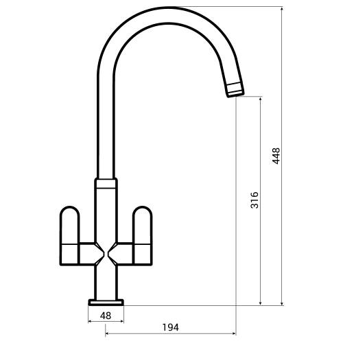Abode LINEAR NERO Kitchen Tap  - AT1184 Dimensions