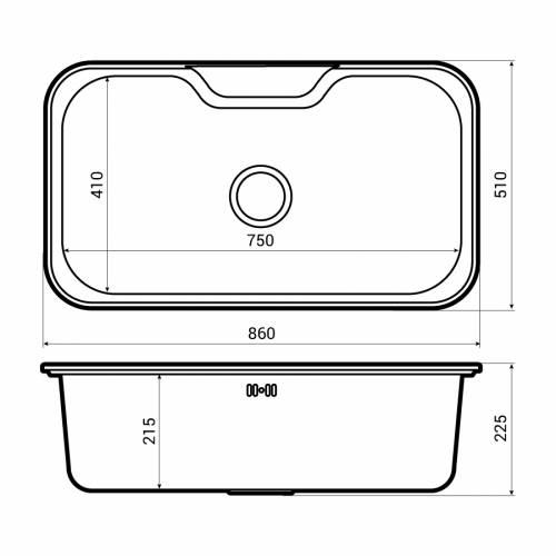 Abode Matrix R50 XL 1.0 Bowl Undermount Kitchen Sink Dimensions