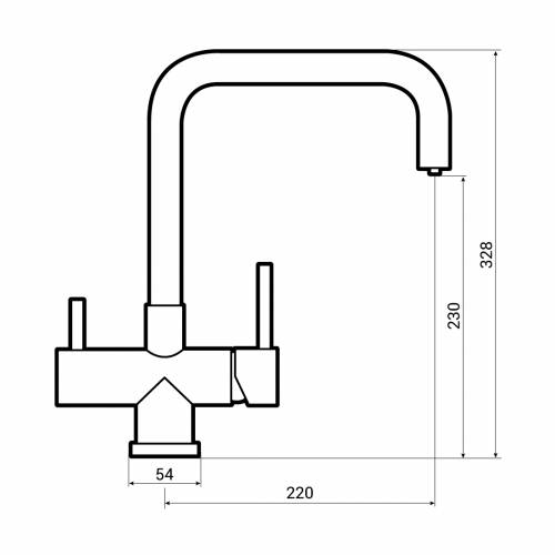 Caple Dalton Quad Puriti Water Filter Monobloc Kitchen Tap Dimensions