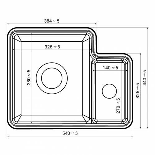 Reginox TUSCANY 1.5 Bowl Ceramic Undermount Kitchen Sink Dimensions