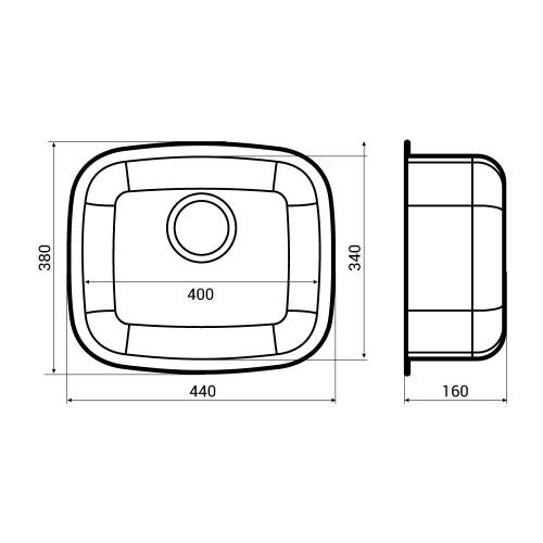 L18 3440 Single Bowl Kitchen Sink Dimensions