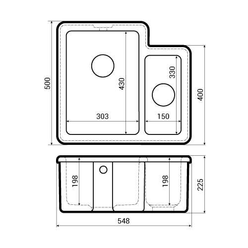 Shaws CLASSIC BRINDLE 150 Sink Dimensions