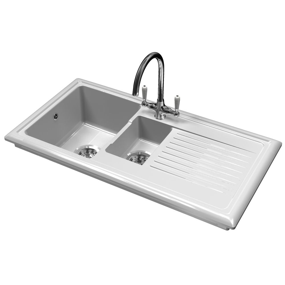 ceramic kitchen sinks 1 5 bowl reginox rl301cw ceramic sink and elbe tap sinks taps 8091