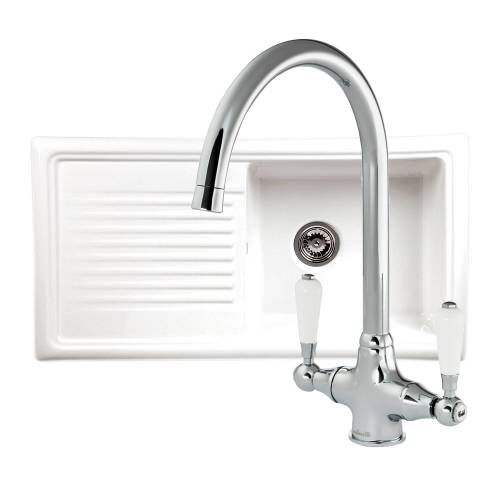 Reginox LUX RL304CW Ceramic 1.0 Bowl Kitchen Sink with FREE Reginox Tap